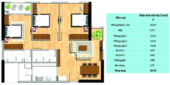 Mặt bằng tổng thể căn hộ C