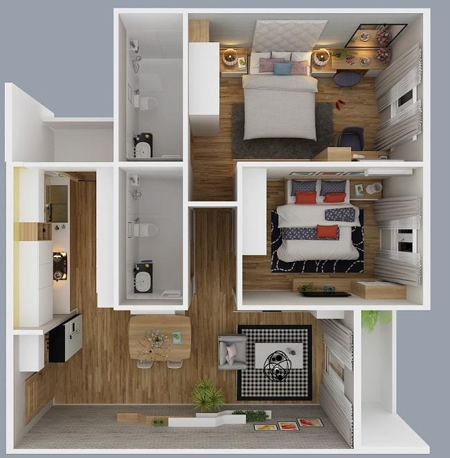 Phối cảnh căn hộ city gate 3 loại 2 phòng ngủ