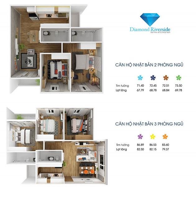 Thiết kế căn hộ 2PN, 3PN City gate 2