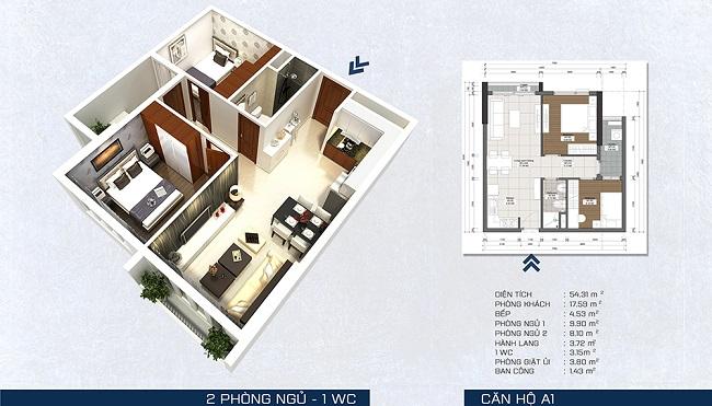 Phối cảnh căn hộ A1 - 2 phòng ngủ + 1 WC