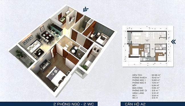 Phối cảnh căn hộ A2 - 2 phòng ngủ + 2 WC