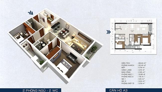 Phối cảnh căn hộ A3 - 2 phòng ngủ + 2 WC